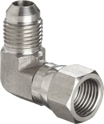 Brennan 6500-06-06-SS, Stainless Steel JIC Tube Fitting, 06MJ-06FJS 90 Degree Elbow, 3/8