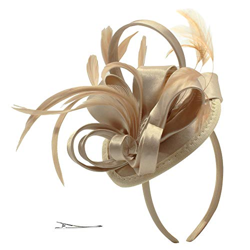 Felizhouse Fascinator Hats For Women Feather Cocktail Party Hats Bridal Kentucky Derby Headband, #1 Satin Light Khaki, One Size -