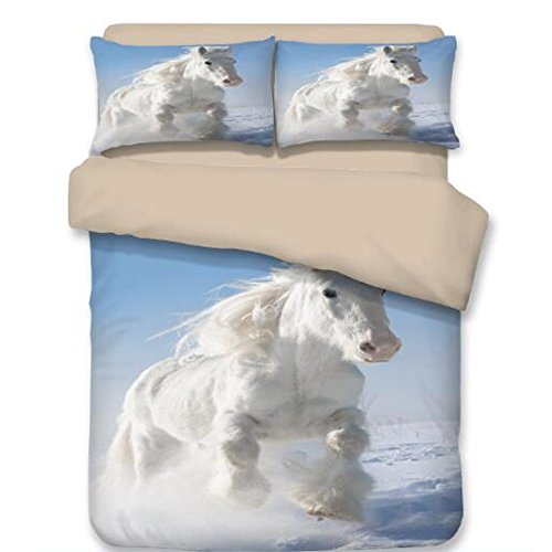RuiHome 3-Piece White Horse Pattern Bedding Duvet Cover Set for Teens Girls Boys Kids Bedroom - Twin Size