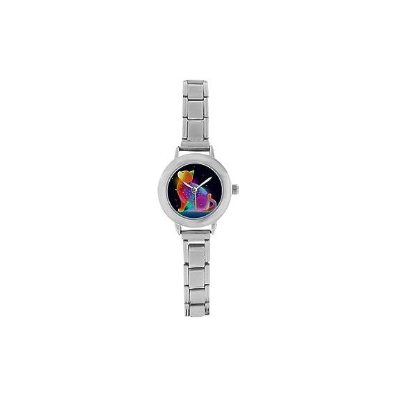 Colorido Dreamy Cat para mujer casual tendencia muñeca cómodo relojes de acero inoxidable reloj clásico