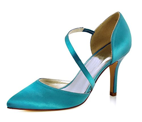 Minitoo Ladies Pointed Toe Ankle Wrap Satin Stylish Wedding Business Party Shoes Green-9cm Heel grv9ruxkH