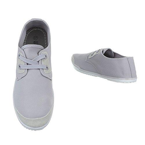 Ital-Design Low-Top Sneaker Damenschuhe Low-Top Schnürer Schnürsenkel Freizeitschuhe Grau