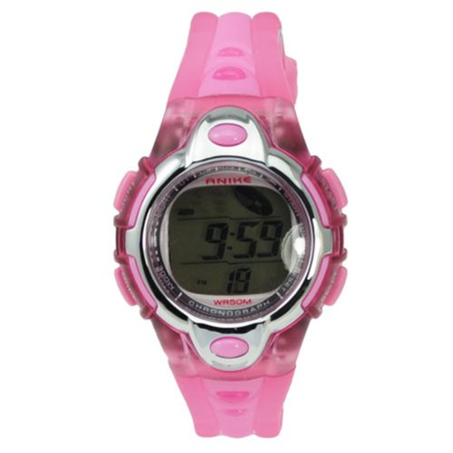 Kids Watches Flash Lights 50m Waterproof Chronograph Digital Sports Watch - Pink Color