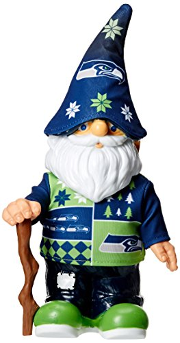NFL Seattle Seahawks Real Ugly Sweater Gnome - Busy Block, Green (Seahawks Gear Seattle Fan)
