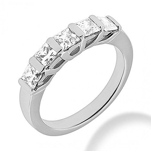 1.85 ct. Five Stone Princess Cut Diamond Wedding Band in Bar Mounting in 14 kt White Gold In Size 7 ()