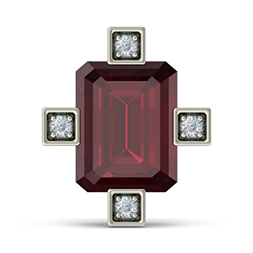 18 K Or Blanc 0,04 CT TW Round-cut-diamond (IJ | SI) et Rhodolite Boucles d'oreille à tige