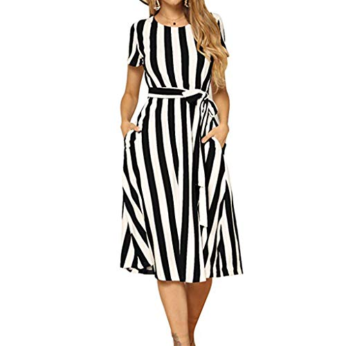 REXINTE Women Strip Midi Dress Short Sleeve V Neck Button Down Dresses Belted Swing with - Snap Belted
