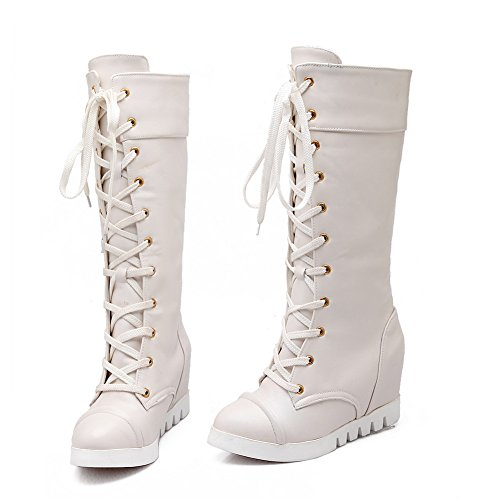 Thick Heighten Matching Girls AdeeSu Color Heel Bandage Bottom Imitated Boots Inside Leather Beige cnqYWWBRH
