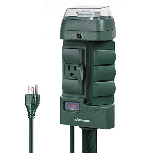 DEWENWILS Outdoor Power Stake Timer, Mechanical Weatherproof Power Strip with 6 Grounded Waterproof Outlets(3 180°Rotating Outlets) 6' Extension Cord, 15A, 1/2HP UL Listed