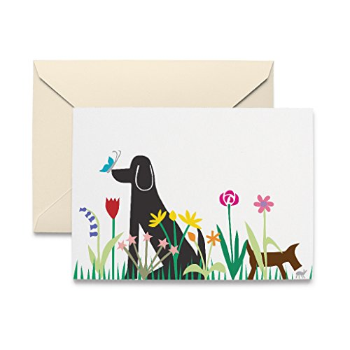 Dog Christmas Cards Envelopes - R. Nichols Dogs in Garden Blank Notecards with Envelopes - All Occasion (Box of 10)