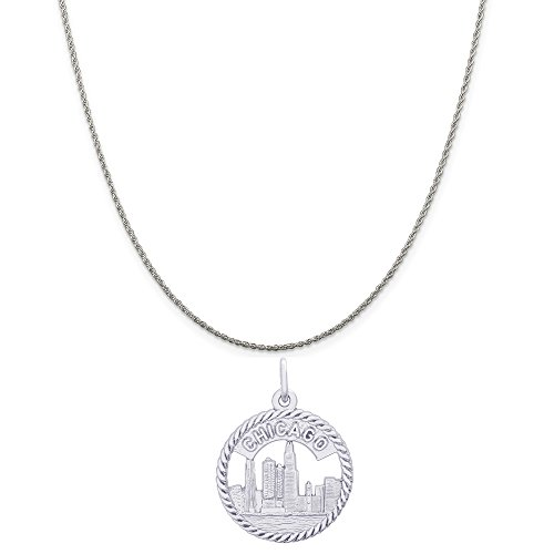 Rembrandt Charms Sterling Silver Chicago Skyline Charm on a Sterling Silver Rope Chain Necklace, 20