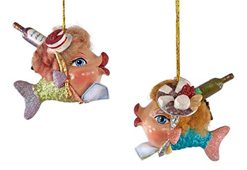 Collection Foodies - Katherine's Collection Foodie Blue and Green Kissing Fish Christmas Holiday Ornaments Set of 2