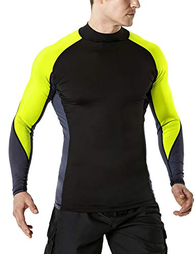 TSLA Men's UPF 50+ Long Sleeve Rashguard, Three Color Block(msr33) - Black & Neon Yellow, Small. (Vest Long Mens)