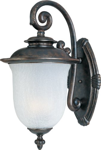FCCH Cambria ES Light Outdoor Wall Lantern, Chocolate Finish with Frost Crackle Glass, 17-1/2-Inch (Chocolate Outdoor Wall Light)
