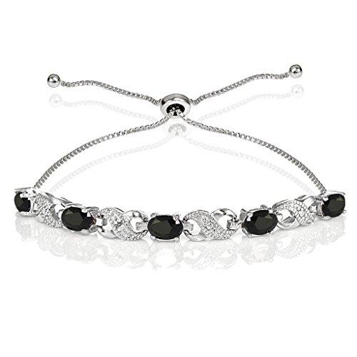 Sterling Silver Genuine Sapphire Infinity Adjustable ()