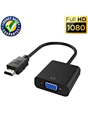 HDMI to VGA Adapter Cable Converter RS232 15 Pin d Sub, HDMI Gold with Audio Male to VGA Female Connect to Monitor Apply to Desktop Laptop PC Monitor Projector HDTV Chromebook Raspberry Pi Roku Xbox