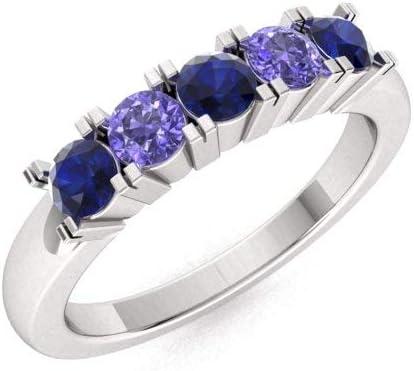 Natural Tanzanite 925 Sterling Silver Gold Plated Wedding Band Ring US 3 to 15