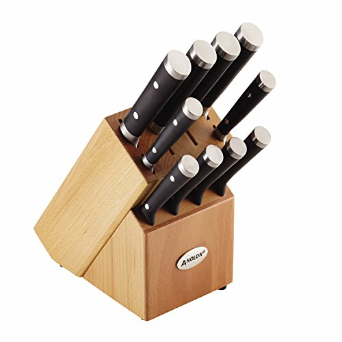 Anolon 11-Piece Japanese Stainless Steel Knife Set, Black by Anolon