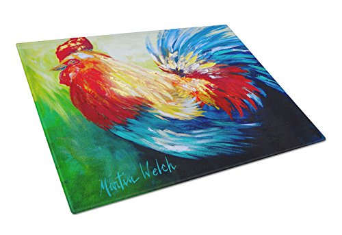Caroline's Treasures Bird Rooster Chief Big Feathers Glass Cutting Board, Large, Multicolor ()