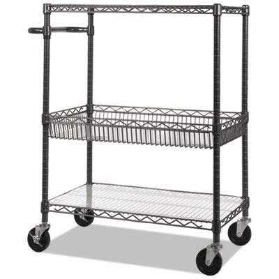 (Alera 3-Tier Wire Rolling Cart, Black Anthracite)