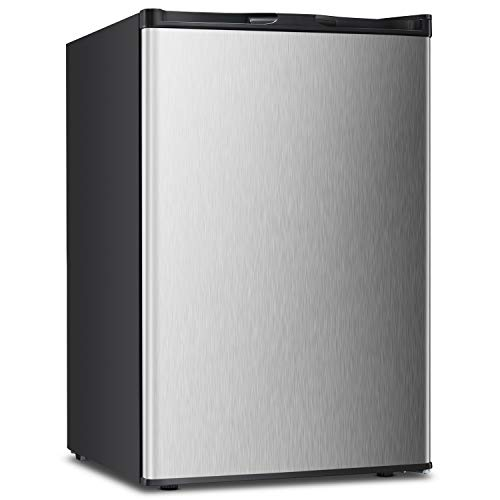 3.0 CU.FT Upright Freezer Convertible Deep Stainless Steel Capacity Frost Free Quick Freeze Function Refrigerator Low Noise Compact Refrigerators (Stainless steel-3.0cu.ft)