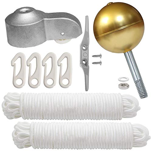 Flagpole Repair Parts Kit 6 Cleat Hook 4 PCS Brass Swivel Snap Hooks 50 Feet Flag Halyard Rope Flagpole Truck for 2 Top 3 Gold Ball