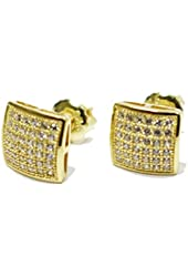 Small 14k Gold Plated Real Sterling Silver Screw on Screw Off Stud Earrings