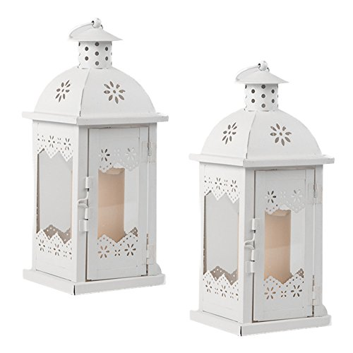 Metal and Glass Square Candle Lantern by Clever Creations | 2 Pack Decorative Candle Holder | Quality Stainless Steel Construction| Indoor & Outdoor Use | Rustic Design (Lantern Malta)