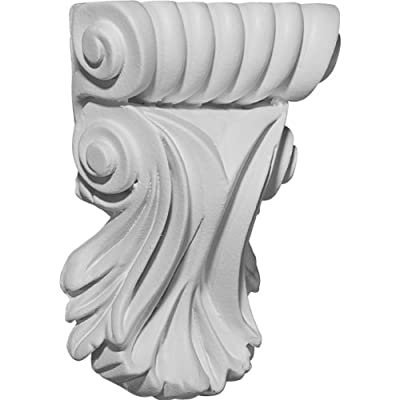 Ekena Millwork COR03X01X05SC 3 7/8-Inch W x 1 1/4-Inch D x 5 1/4-Inch H Scroll Leaf Corbel by Ekena Millwork