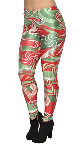 BadAssLeggings Women's Christmas Candycanes Leggings Medium Tall Red Green (Candy Cane Outfit)