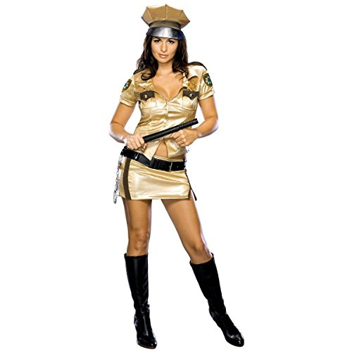 Reno 911 Costume Women (GSG Deputy Johnson Costume Reno 911 Gold Cop Police Sexy Funny Halloween Dress)