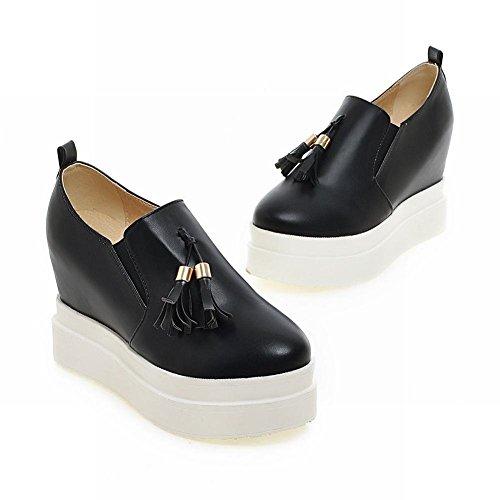Mee Shoes Damen bequem modern süß runder toe mit Quaste invisibel Heel Geschlossen Durchgängiges Plateau Freizeitschuhe Schwarz