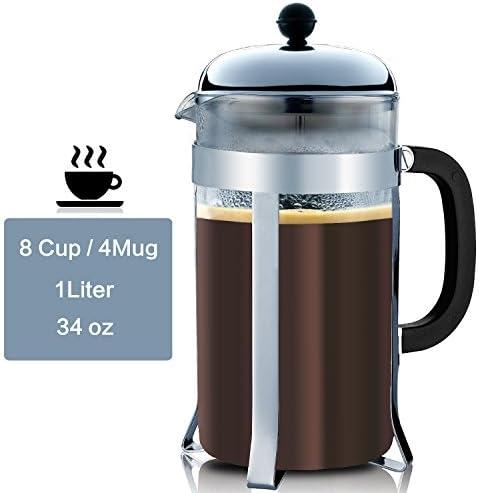 markline French Press Cafetera – 34 G 1000 ml café y Espresso Maker con filtros de triple, acero inoxidable Émbolo, resistencia al calor cristal – Cafetera mejor calidad de té cafetera &