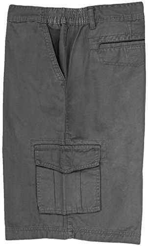 Full Blue Big Men's Cargo Shorts with Expandable Waist Size 50 Gray #872C ()