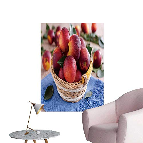 Wall Art Prints ripe Nectarines smly in a Wicker Basket for Living Room Ready to Stick on Wall,16