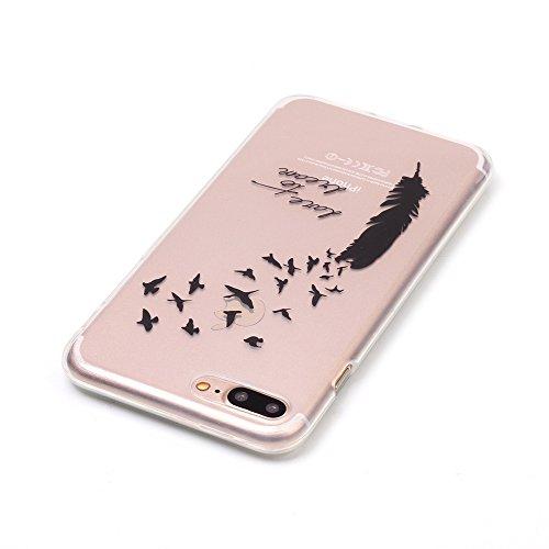 Voguecase® für Apple iPhone 7 Plus 5.5 hülle, Schutzhülle / Case / Cover / Hülle / TPU Gel Skin (Schwarz Feder 04) + Gratis Universal Eingabestift
