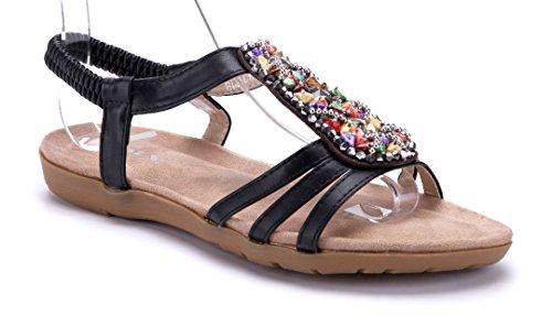 Schuhtempel24 Damen Schuhe Sandalen Sandaletten Flach Ziersteine Schwarz