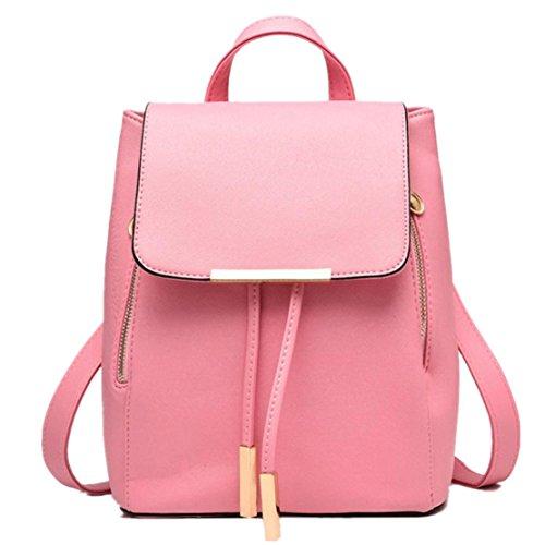 Clode® Bolso de las mujeres chicas señoras mochila moda bandolera mochila PU cuero viajes Rosado