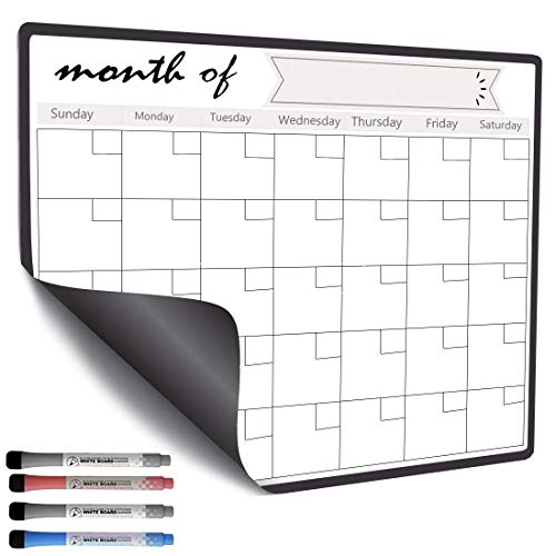 Magnetic Dry Erase Calendar for Refrigerator Fridge, Whiteboard 2019 2020 Monthly Planner with 4 Marker Pen 43 x 33cm ()