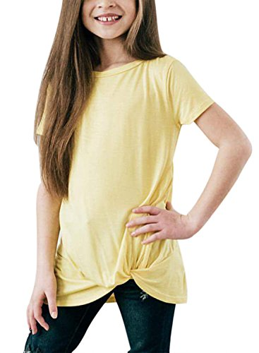 Birthday T-shirt Yellow - Acelitt Girls Casual Short Sleeve Tops Solid Color Knot Front Cute T Shirts Birthday Shirt Outfits 6-7 Years Yellow