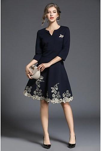 jialeleドレスビンテージ、ドレスプラスサイズ、ドレス12レディースAラインドレス、印刷Vネック長袖弾力性不透明 ブラック X-Large
