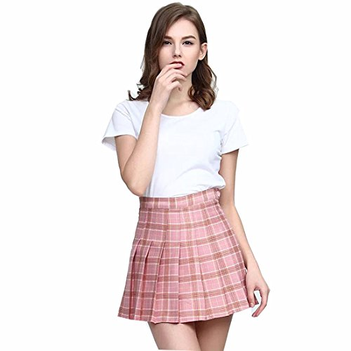 Clarisbelle Women High-Waisted Pleated Mini Skirts With Soft Shorts Underneath (L, Pink Checks) -