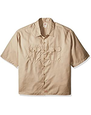 Men's Big and Tall Short-Sleeve Work Shirt, Desert Sand, 6X-Large