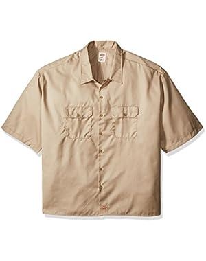 Men's Big and Tall Short-Sleeve Work Shirt, Desert Sand, 6X-Large