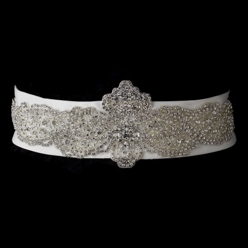 Rhinestone & Glass Bead Sheer Organza Floral Wedding Bridal Sash Belt - White by Fairytale Bridal Accessories