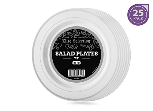 7 1/2 Salad Plates (Elite Selection Pack of 25 White Salad / Dessert Disposable Party Plastic Plates With Silver Rim 7.5-Inch)