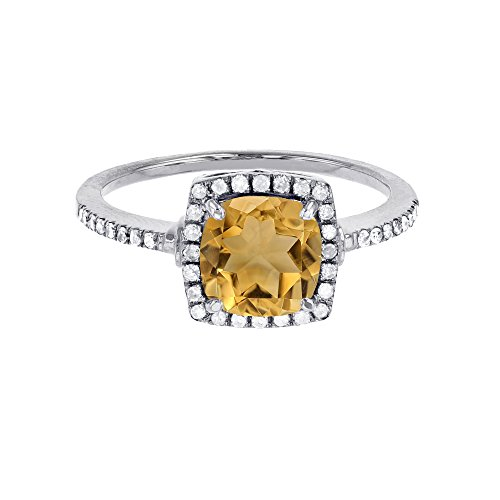 - 14K White Gold 7mm Cushion Citrine & 0.20 CTTW Diamond Halo Ring