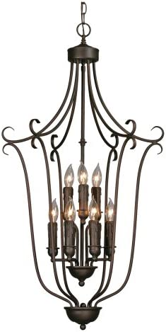 Golden Lighting 6427-9 RBZ Multi-Family Foyer – Caged, 20-Inch W by 38-1 2-Inch H, Rubbed Bronze