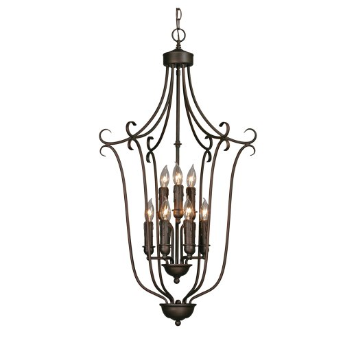 Caged Foyer - Golden Lighting 6427-9 RBZ Multi-Family Caged Foyer, Rubbed Bronze Finish