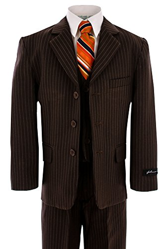 Johnnie Lene Baby Boy's Formal Dress Suit JL5014 (18 Months, Pinstripe Brown)